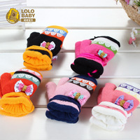 Free Shipping! Baby Double Layer Thickened Gloves Kid Gloves Autumn and Winter Baby Yarn Thermal Mittens 9002