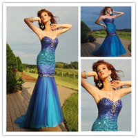 Low Cost mermaid  Sweetheart Long Tulle Beading Blue Prom Dress 2014