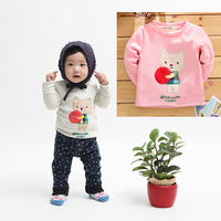 Baby Kids Thick Warm Long Sleeve Cat Cartoon Shirt Velvet Tops T-shirt Age Drop Free Shipping