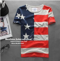 2014 new fashion men short t-shirts V neck cotton t shirt for men man t shirts men's american flag t shirt