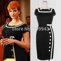 plus size 4XL New 2014 Cele Vintage Women office dress Optical Illusion Colorblock  business formal Bodycon Party Pencil Dress