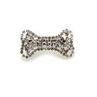 NEW 6pcs lot clear silver rhinestone dog bone pet hair barrette lady french barrette jewelry ornament