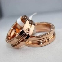 Classic Gear Titanium 18k Rose Gold / Platinum Ring Fashion Brand Luxury Jewelry Women Men Couples Ring Accessories Lovers Gift