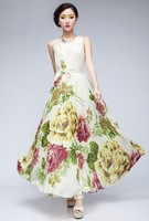 # 2074 Summer Bohemian elegant dress , big yards, chiffon, big skirt