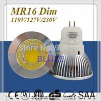 Wholesale 50pcs/Lot  Dimmable MR16 GU5.3 AC 110V 127V 230V 5W COB LED Reflector lighting Bulbs Replace 50W Halogen Lamp