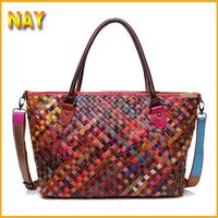 Wholesale Brand Real Cowhide Genuine Leather Women's Handbag Messenger Bag Vintage Large Capacity Handmade Weaving Tote