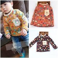 New Children's Winter Clothing Colorful Owl Print Boys&Girl's T Shirts Kid's Turtleneck Thicken Berber Fleece Kid's Warm T-shirt