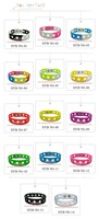 13 pcs of Mixed 13 colors holey pvc ,21cm silicone Wristband Bracelet with new polybag,for Kid's toy,Party favor.