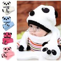 Autumn winter children's hat scarf set baby boy girl animal panda Wool hats kids crochet beanie cap velvet ear muff cap 18499