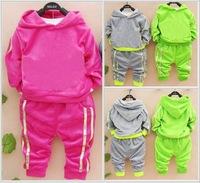 Retail 2014 autumn and winter children's velvet leisure suit children suit cotton jogging sweater, free shipping shampooers