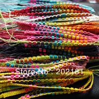 Free shipping WM-013 Fashion jewelry Wax line wood bead handmade weave rope string woven bracelet friendship bracelets