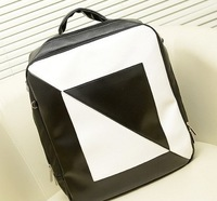 New fashion black and white geometric pu leather backpacks, leisure women knapsack, wholesale school packsack, girl's bag