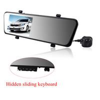 "1080P Allwinner A10 car dvr dual camera registrator+4.3"" screen+slide hidden keyboard+motion detection+G-sensor+loop recording"