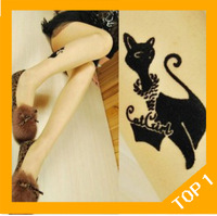 Free shipping Women flocked kittens Covering yarns tattoo stockings pantyhose wholesale promotion, Tights for women