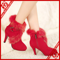 Free Shipping 2013 new style high heel plush boots size 5.5~7.5 black/red (Retail or wholesale)
