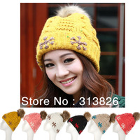 Winter knitted skullies with fur top ball for women and girls