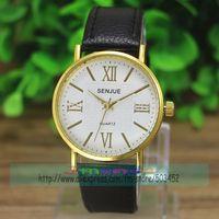 100pcs/lot Roman Style Gold Case SENJUE Brand Leather Watch Wrap Casual Quartz Women Clock Fashion Ladies Dress Wristwatch