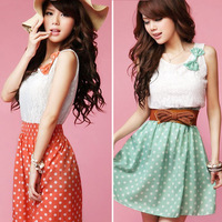 Hot Fashion Womens Ladies Sweet Lace Chiffon Polka Dot Casual Sundress Mini Dress Size S M L Green Orange Free Shiping 0414