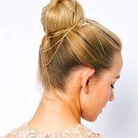 Free Shipping Hot Fashion Classic Leaf Gold Chain Double Comb Hair Combs Hair Jewelry