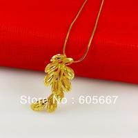 Real 24 K Gold Plating Pendant Necklace ! Fashion Snake Chains Feather Pendant Necklaces ! A064