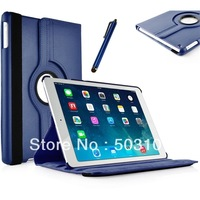11 colors 360 degree rotating Litchi Grain Leather Case for iPad air 5+pen stylus+screen protector (magnetic sleep wake Sensor)