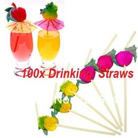 100pcs 3D Fruit Cocktail Plastic Drinking Straw BBQ Hawaiian Party Decoration Assorted