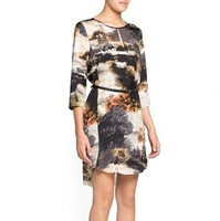 QZ704 New Arrival Ladies' elegant Landscapes print Dresses O-neck  Three quarters sleeve casual slim brand designer dress