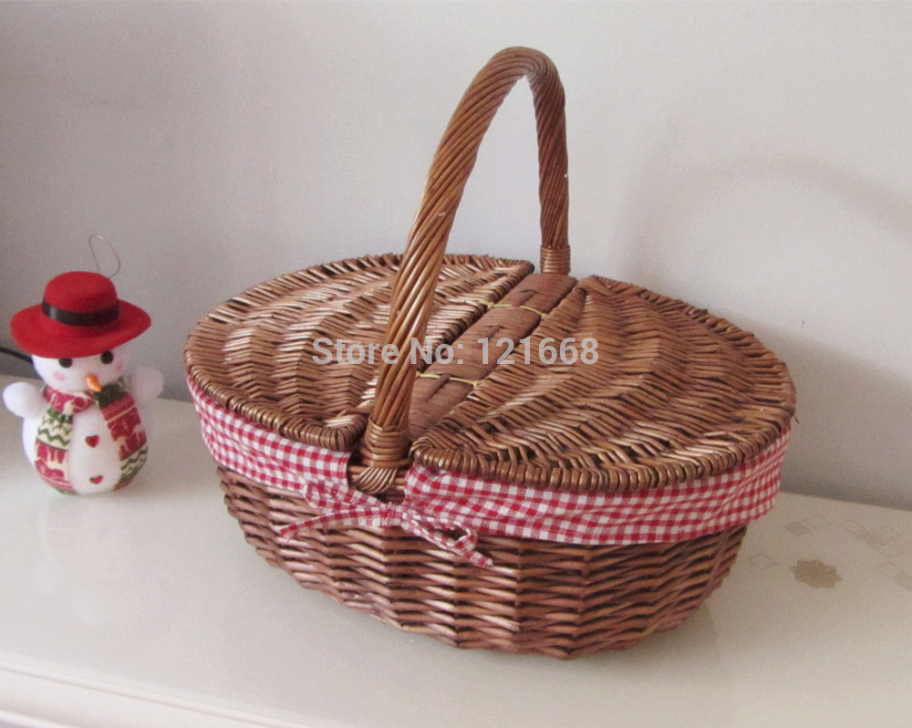 large empty oval natural plant wicker picnic storage basket,shopping basket with liner(China (Mainland))