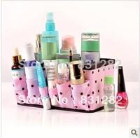 Free Shipping Pink Polka Dot Thickening Desktop Cosmetics Storage box