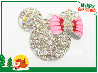 Hot Sale !!  48mm*38 mm  10pcs/lot  Silver Plated  Minnie Inspired Pendant  / Minnie Head Pendant For Chunky Necklace Making