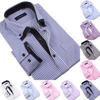 Free Shipping New men's Premium Double collar button down Casual shirts Mens Stripe long sleeve shirt 12colors Big size S-5XL