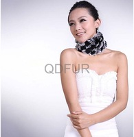 Genuine Rex Rabbit  Fur Winter  Fashion Scarf  in Stock QD29516 Thicken Scarf Colour Mixture Neckerchief