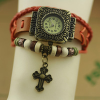 The new 2014 fashionable restore ancient ways ms quartz watch weaving in synthetic leather strap cross bracelet lady's watch