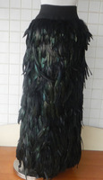 Retail and wholesale, long straight black rooster coque feather skirt with long left slit and elastic waistband, #SKT020