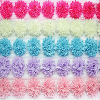 DHL free shipping 3'' glitter shabby chiffon flower trim rosette trim 48 yards( 22 colors for selection)