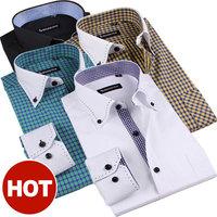 Mens Spring Cotton Long-Sleeve White French Dress Shirts Slim Button Down Collar Business Casual shirt L XL XXL XXXL 4XL 5XL 6XL