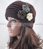 Three Flower Winter Ear Warmer Headwrap  Women Crochet Headband Knit hairband