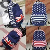 2Pcs/Lot Unisex Girl Boy Canvas School Bag Book Campus Bags Backpack UK US Flag Drop Shipping 18347