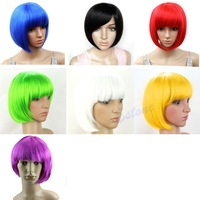 New Arrive Sexy Women BOBO Head Style Straight Bang Short Wigs Hair Cap Hairnet 7Colors Free Shipping