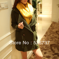2013 women's winter fashion elegant vintage double breasted medium-long sweater army green outerwear Sweaters