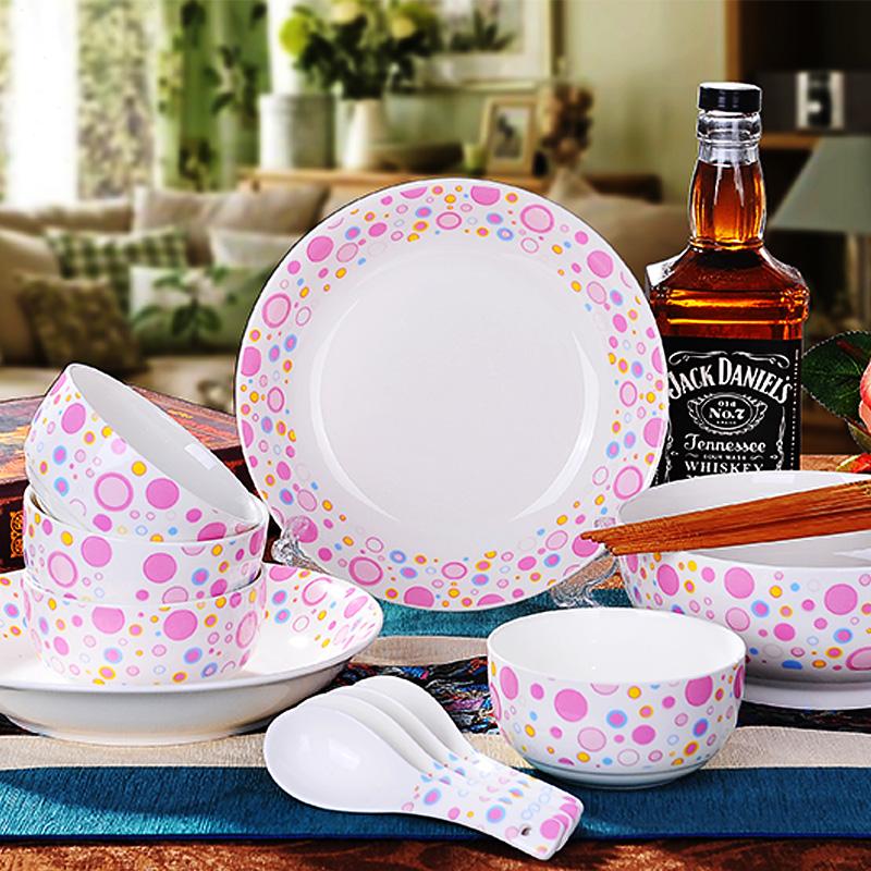 Jingdezhen ceramic dinnerware 15 sets powder bubble cartoon China tableware bowl(China (Mainland))