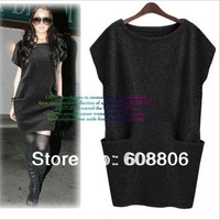 2013 Euramerican loose style large size M-4XL four colors thicken knitted vest dress/good quality ,free shipping