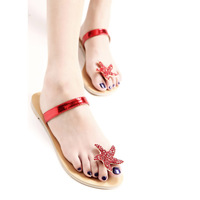 Free Shipping New arrival 2013 sexy rhinestone flip slippers flat sandals fashion female shoes red