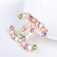 Exempt postage  Korean imports of small fragrant double c brooch brooch brooch jewelry CC