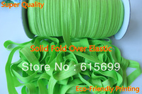 "100 yards Acid Green #556 solid fold over elastic  FOE ribbon 5/8"" free shipping"