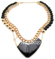 gold chain beads women jewelry 2013 fashion costume black chunky chain necklace statement USA & Europe style