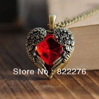 24pcs/Lot Love vintage red hearts design long  sweater chain necklace Angel Wings pendant necklaces for women A025