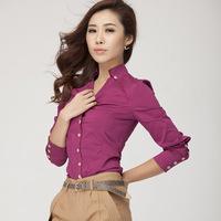 Women's Soild Color Shirt OL Turn-Down Collar Button Slim Shirt Blouse Tops