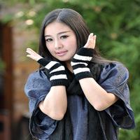 Free shipping Korean fashion for men and women winter wool gloves knitted striped short half- finger gloves