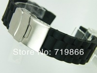 High quality cool man 22mm BLACK For ROLEX STY SOFT RUBBER STRAP SPORT WATCH BAND w/D.BUCKLE